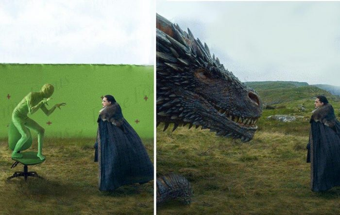 Green screen behind the scenes of Game of Thrones