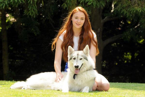 Sophie Turner and dog