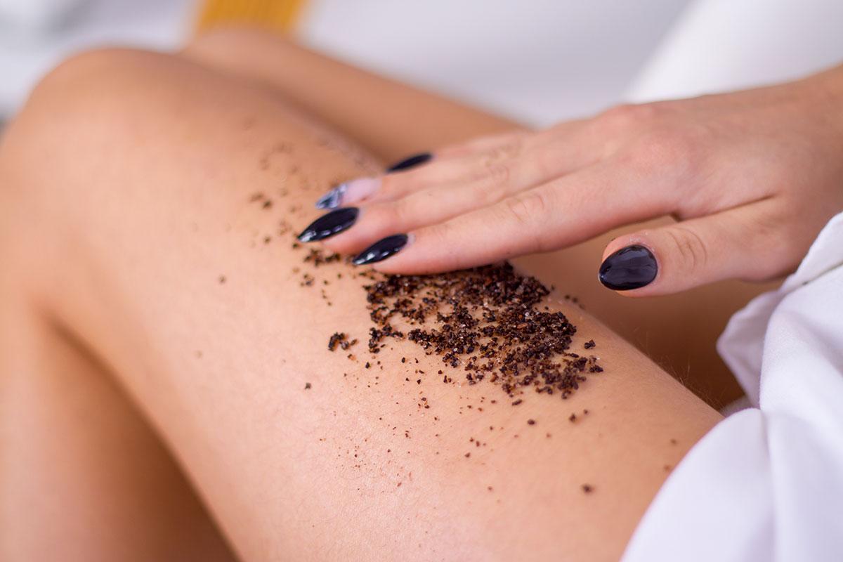 coffee on woman's leg