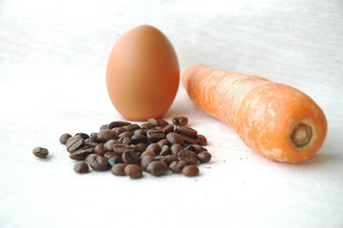 coffee beans and carrots