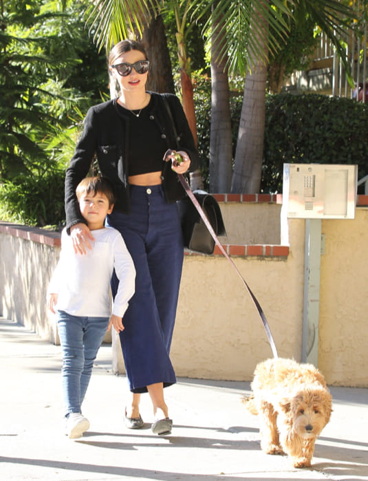 Miranda Kerr, her son, and her dog