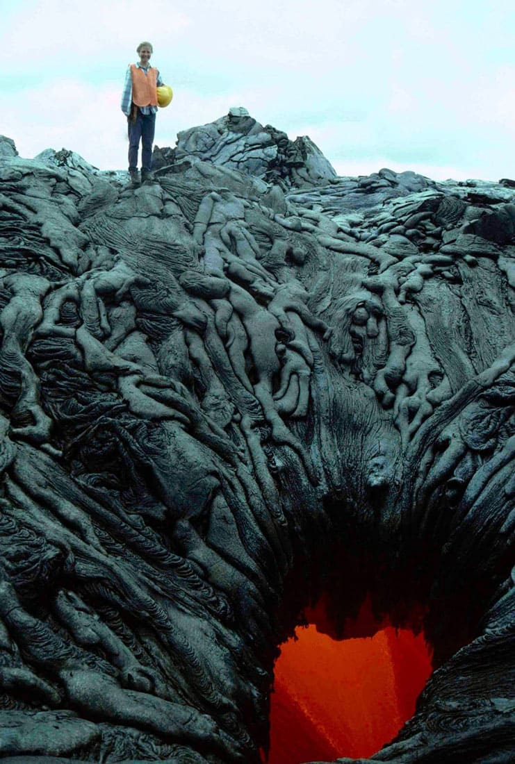 Lava that formed shapes of bodies