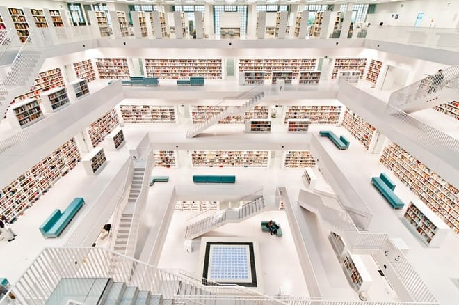 a 5 level building, library, decorated in white