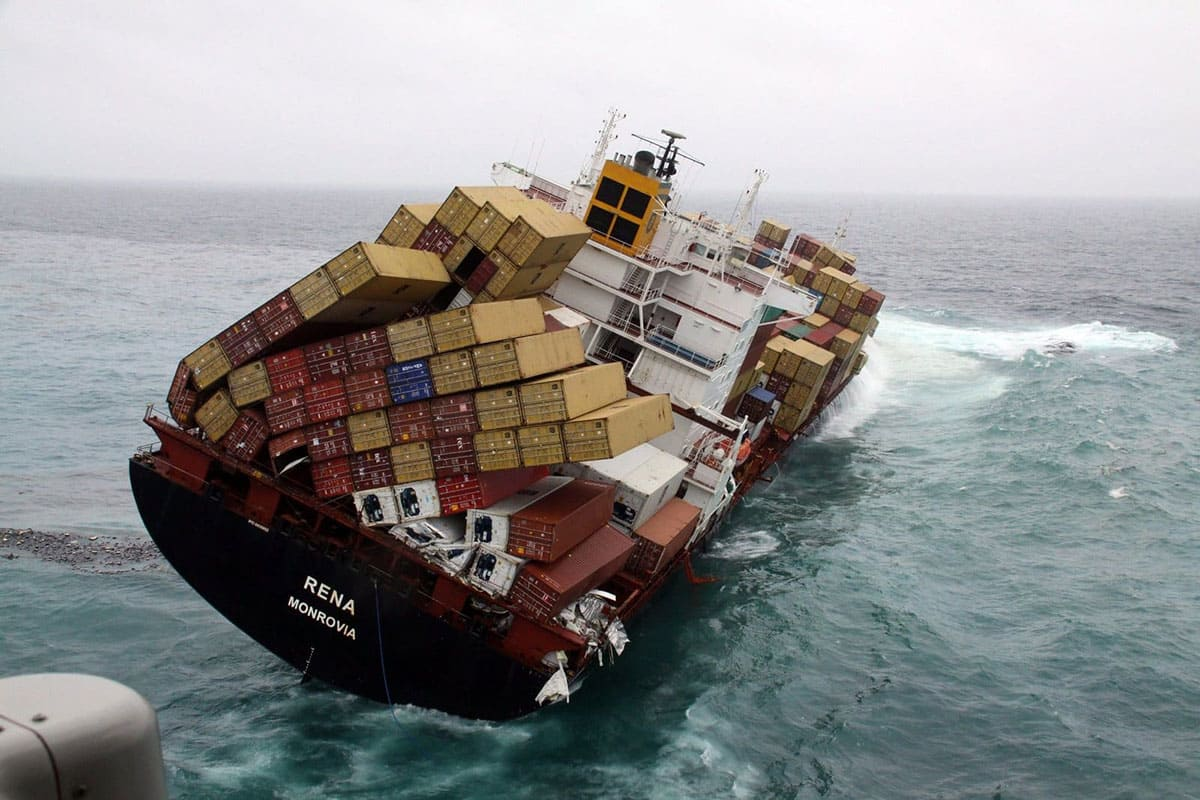 Cargo ship almost toppling over