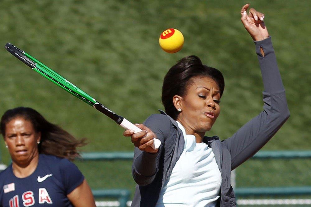 Michelle Williams dodging a tennis ball