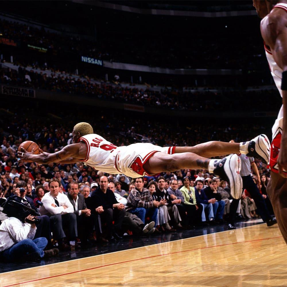 Dennis Rodman flying mid-air