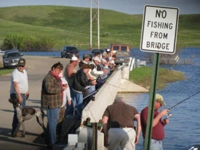 A bunch of people fishing from a bridge