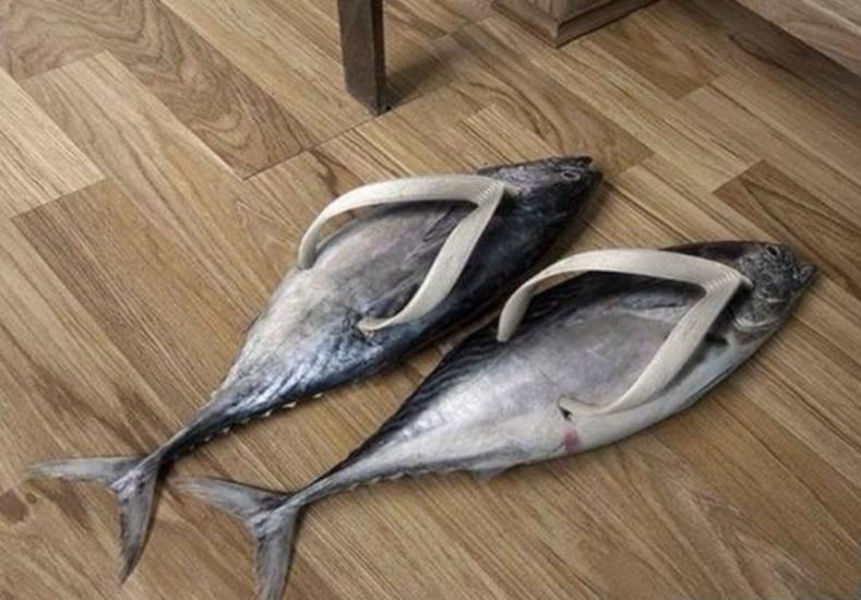 Flip flops made of fish