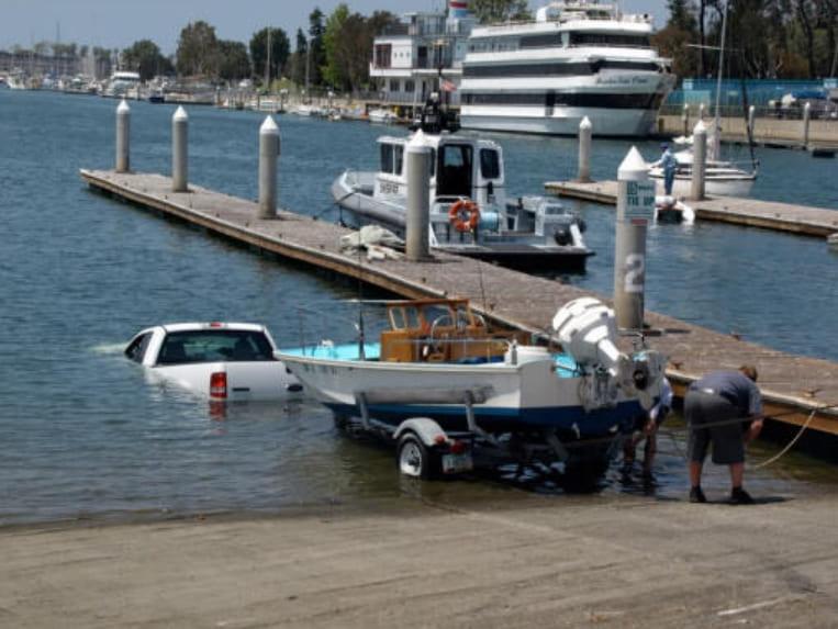 A truck sinking