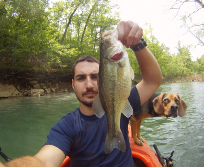 A man a fish and a dog