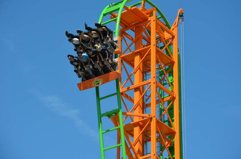 People riding a roller-coaster