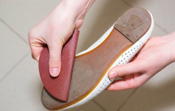 shoe with sandpaper