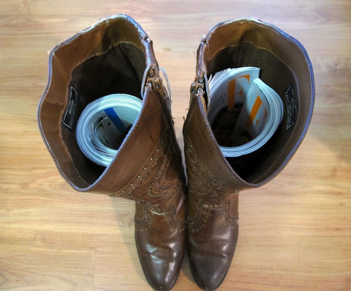 Boots with magazines in them