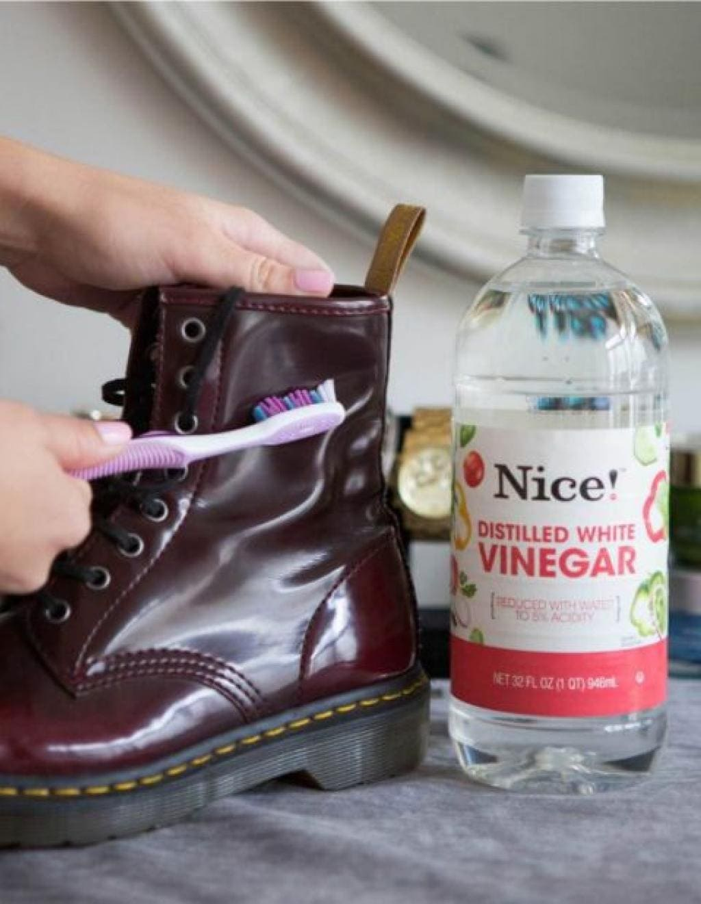 Shoes, vinegar, and a toothbrush