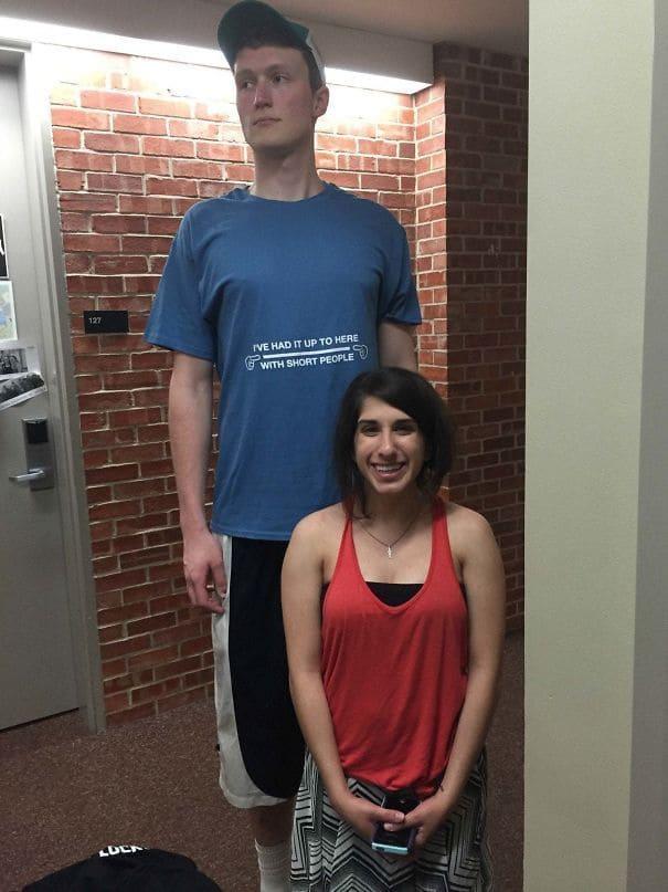 A short girl with her tall boyfriend