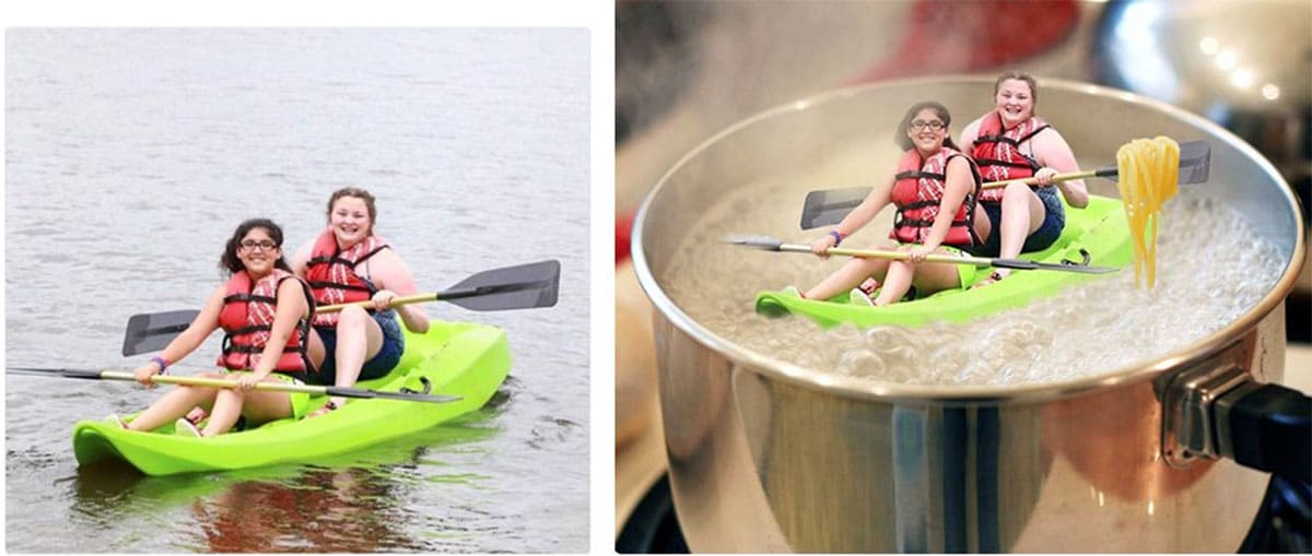 Before and after editing, their kayak is now inside a pot of boiling water