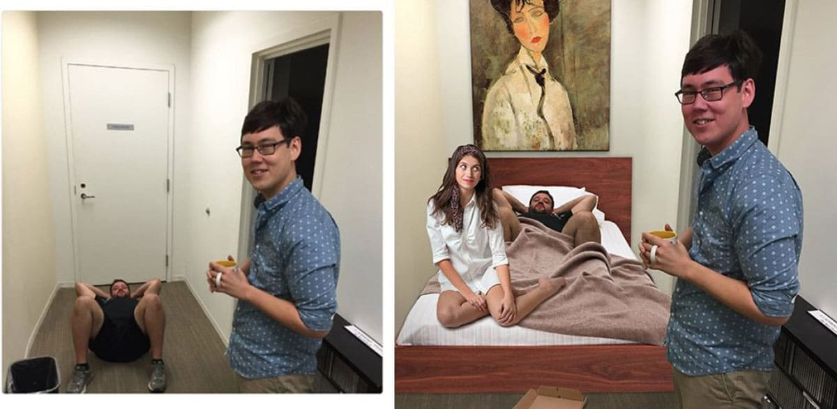 photoshopped his friend into bed with a woman while he stands awkwardly on the side