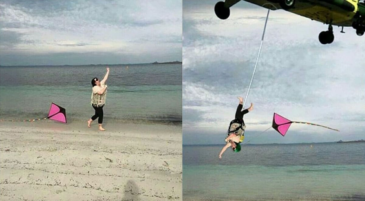 Photoshopped a chopper carrying her while she flies her kite