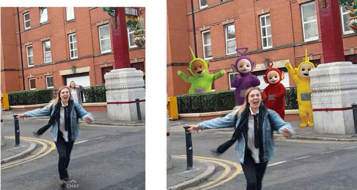 Photoshopped Teletubbies chasing her friend