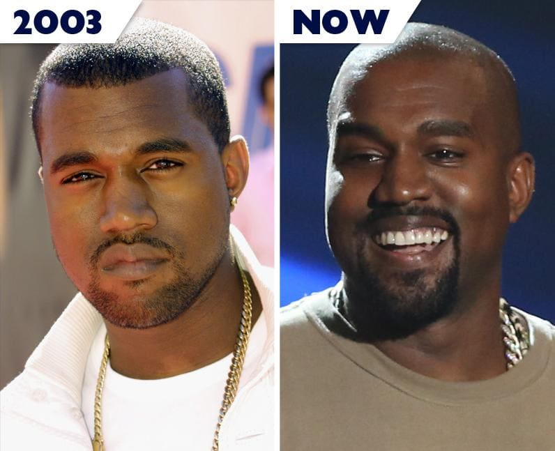 Kanye West then and now