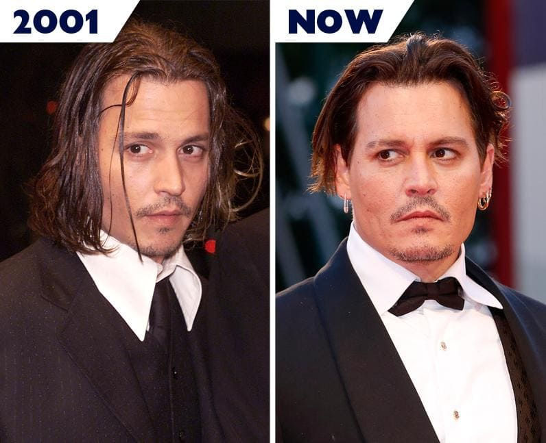 Johnny Depp then and now