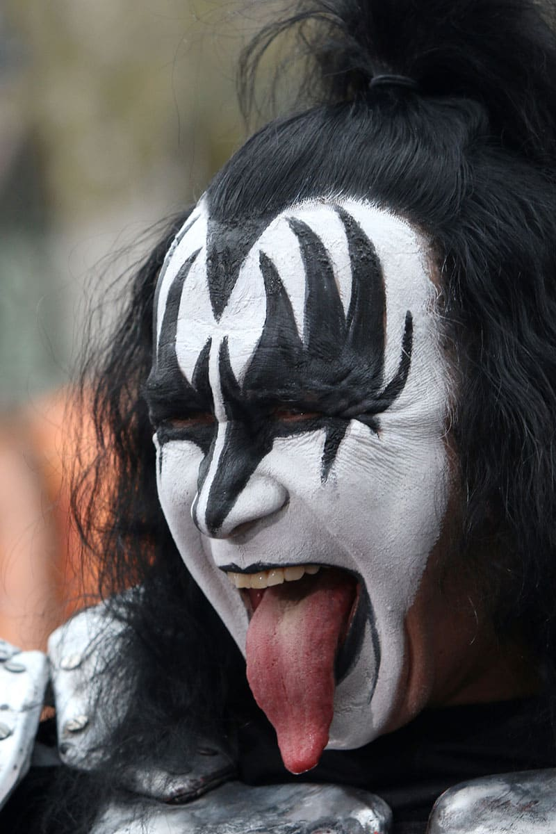 Gene Simmons sticking out his tongue