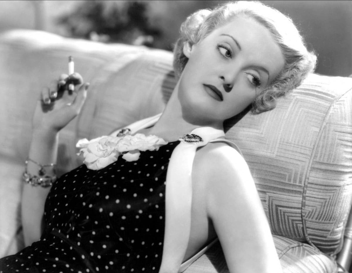 Bette Davis smoking a cigarette