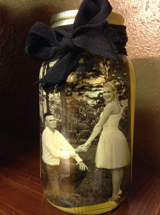 Mason jar as a picture frame