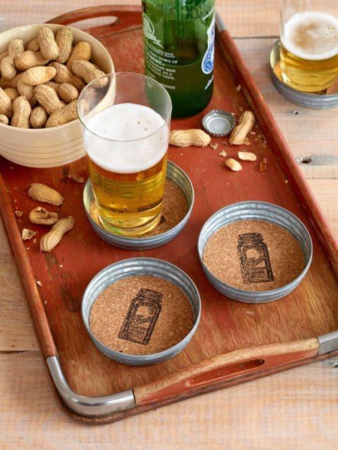 Coasters made from Mason jar lids