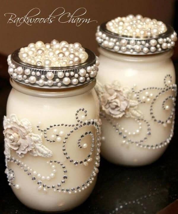 Mason jars decorated in pearls