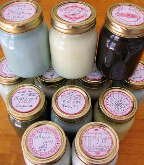 Paint in Mason jars.