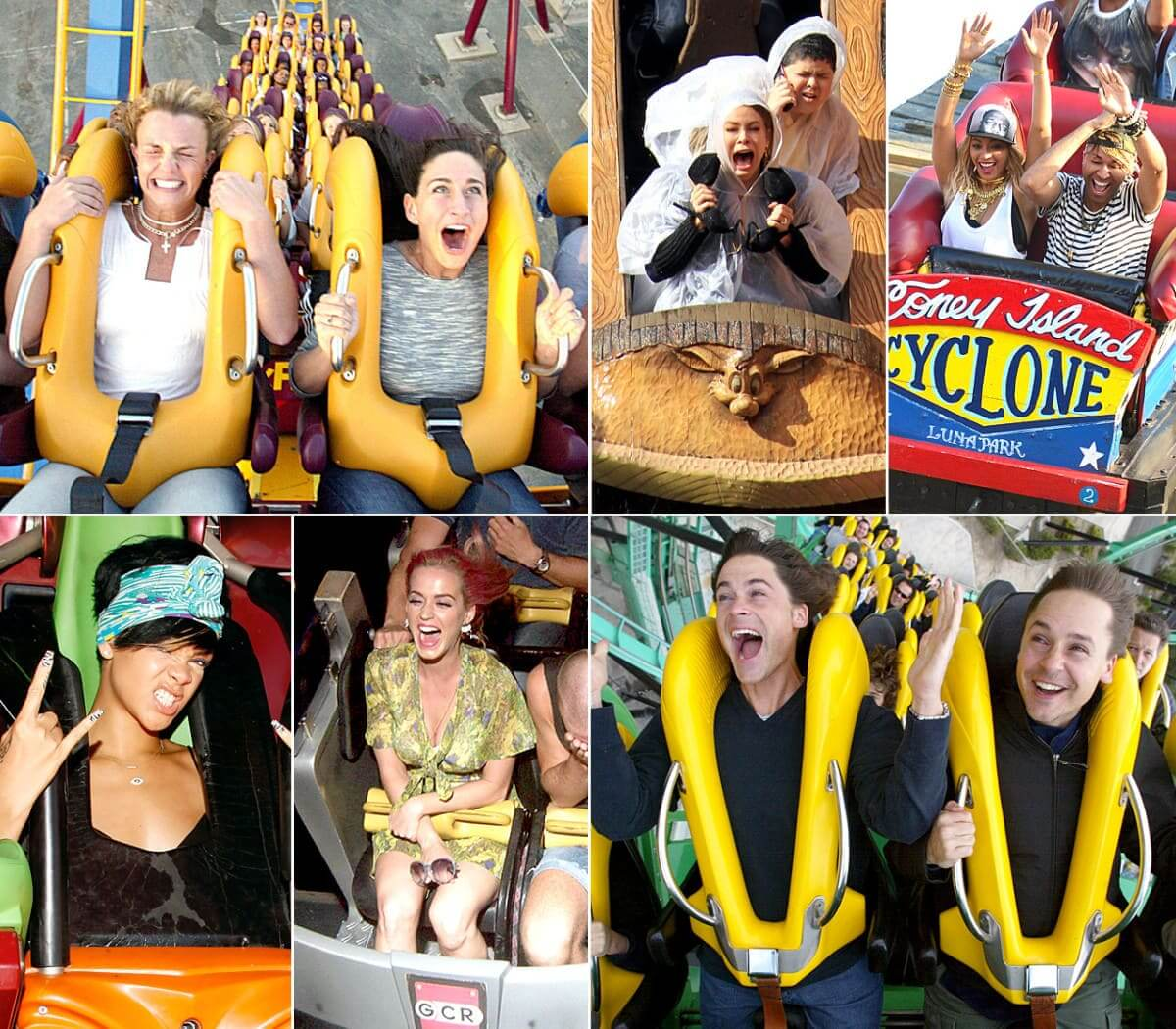 Celebs on roller coasters