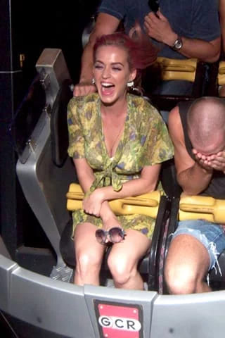 Katy Perry on a roller coaster