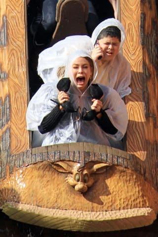 Sofia Vergara and Rico Rodriguez on a roller coaster