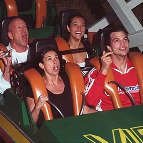 Ashton Kutcher, Demi Moore, Bruce Willis and Emma Heming on a roller coaster