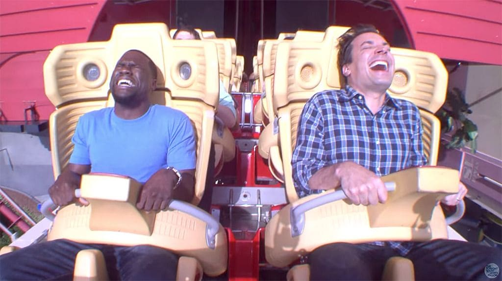 Jimmy Fallonand Kevin Hart on a roller coaster