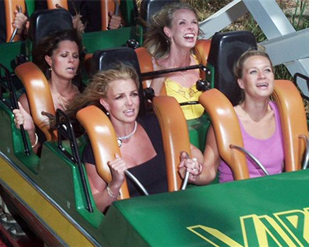 Britney Spears on a roller coaster