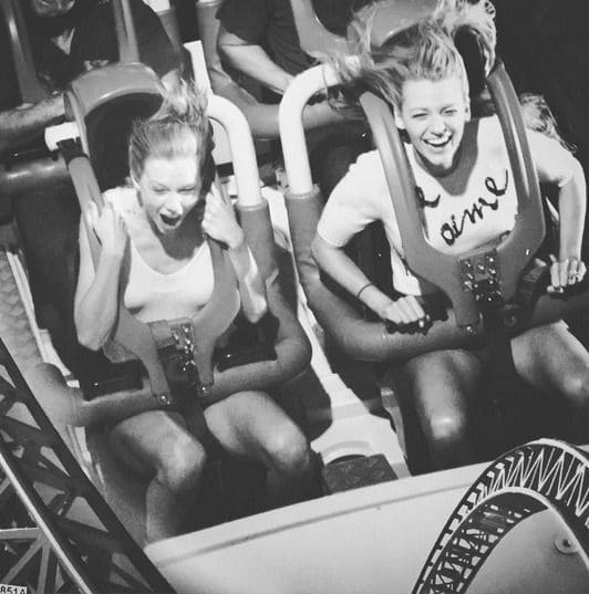 Taylor Swift and Blake Lively on a roller coaster
