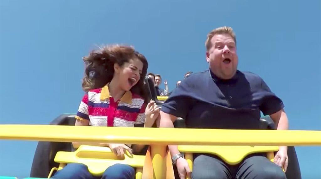 Selena Gomez and James Corden on a roller coaster