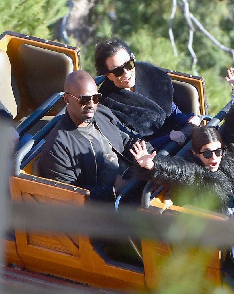 Kris Jenner and her boyfriend, Corey Gamble on a roller coaster