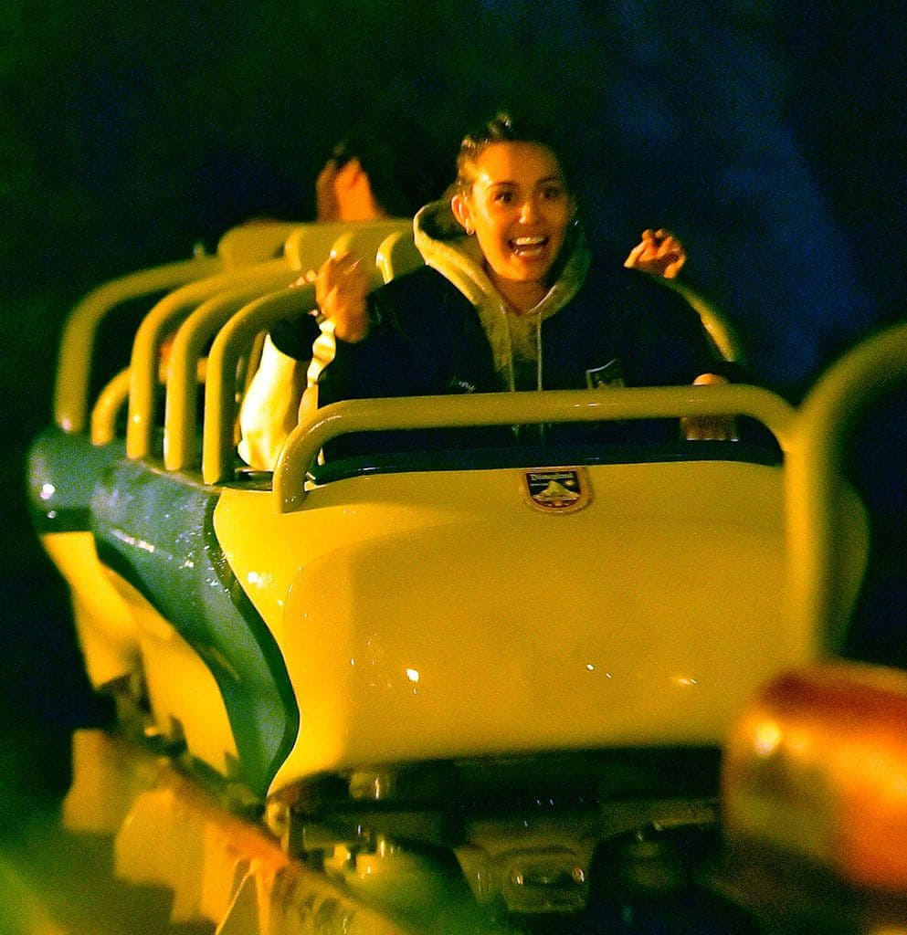 Miley Cyrus on a roller coaster