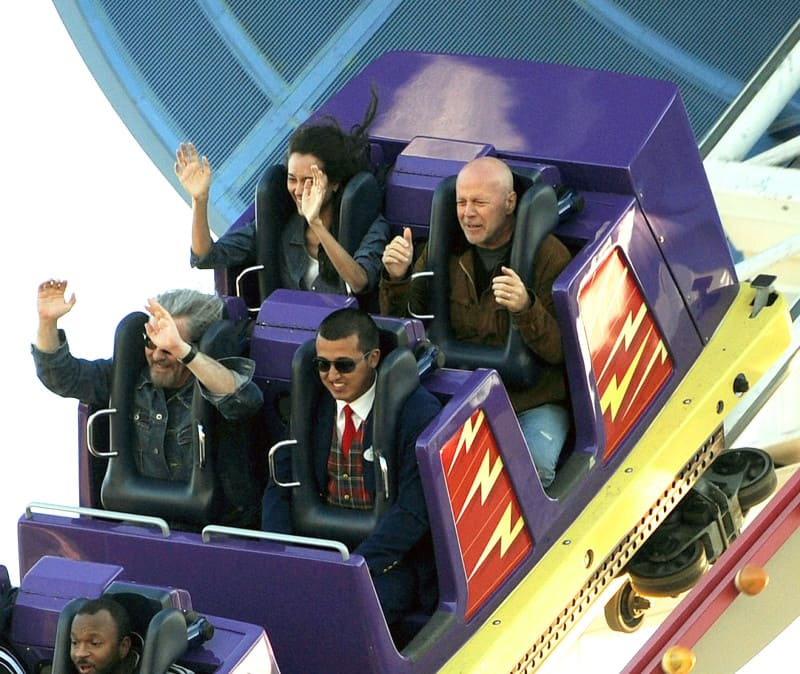 Bruce Willis on a roller coaster