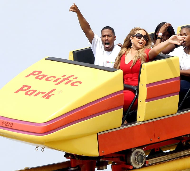 Nick Cannon and Mariah Carey on a roller coaster