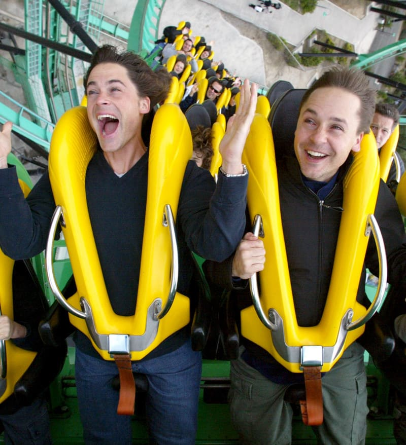 RobLowe and brother andChad Lowe on a roller coaster