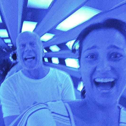 Bruce Willis and his wife Emma Heming on a roller coaster