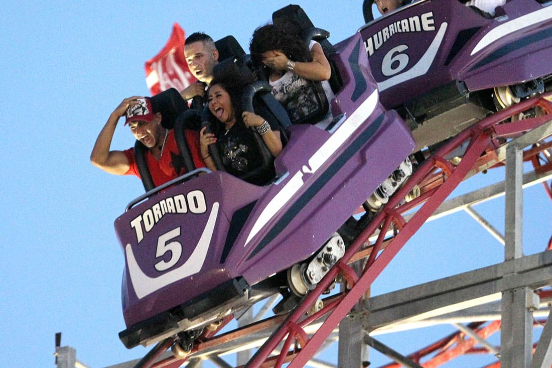 Jersey shore cast on a roller coaster
