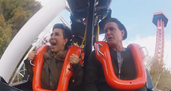 Kris Jenner and Bruce Jenner on a roller coaster