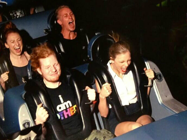 Taylor Swift and Ed Sheeran on a roller coaster