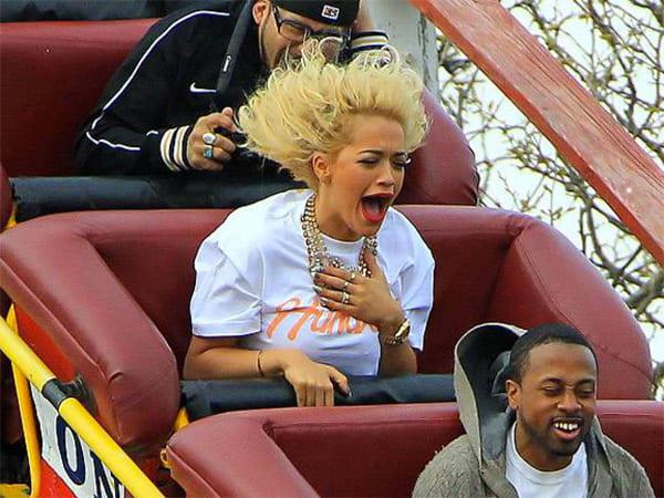 Rita Ora on a roller coaster