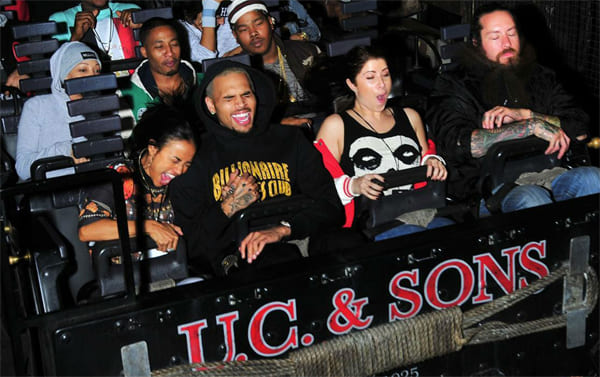 Chris Brown and girlfriend Karrueche Tran on a roller coaster